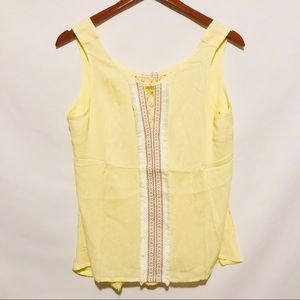 Yellow tank Top with embroidery sz L